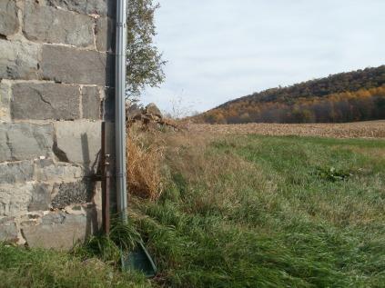 The corner of the barn
