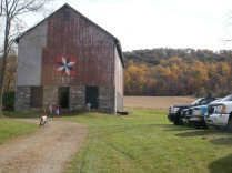 The front of the barn and autumn colors